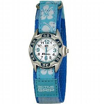 Ravel Girls Blue Hibiscus Easy Fasten Strap Watch R1507.21