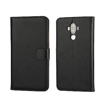 Wallet cover Huawei Mate 9, genuine leather, black