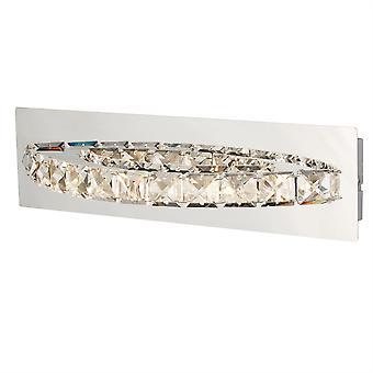 Trébol de curvado cromo y luz de pared LED de cristal - reflector 6002CC