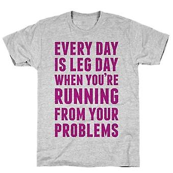 Every day is leg day when grey t-shirt