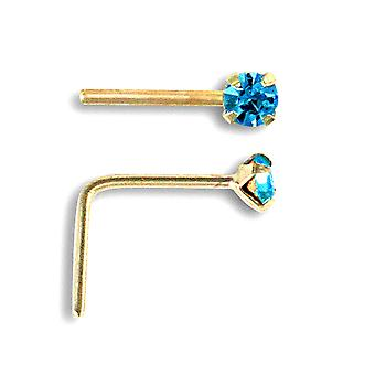 Jewelco London Ladies Solid 9ct Yellow Gold Light Blue Round Cubic Zirconia Solitaire Claw Set Nose Stud