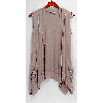 LOGO by Lori Goldstein Vest V-Neck Vest with Chiffon Trim Beige A251180