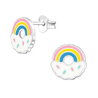 Rainbow - 925 Sterling Silver Colourful Ear Studs - W38387X