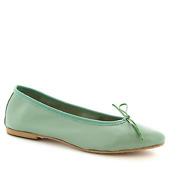 Leonardo Schuhe Frauen's handgemachte Slip-on Ballett Wohnungen Schuhe grün KalbSleder