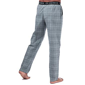 Mens Ben Sherman Chase Lounge Pants In Black-White- Contrasting Elasticated