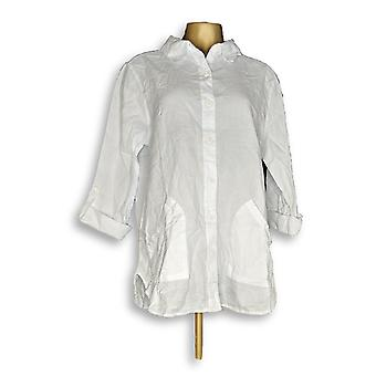 Denim & Co. Women's Top Waffle Button Front Collared White A352531