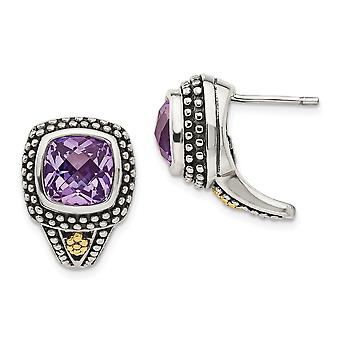 925 Sterling Silver With 14k Antiqued Amethyst Post Earrings - 4.40 cwt