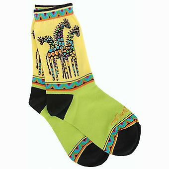 Laurel Burch Socks Giraffes Yellow Green Socks 1049Y