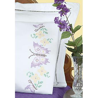 Stamped Pillowcases With White Perle Edge 2 Pkg Butterflies 1600 347