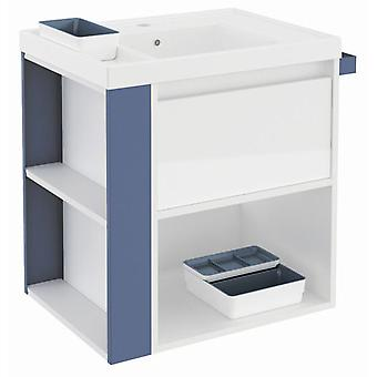 Bath+ 1 Drawer Cabinet + Shelf With Gloss White Resin Basin Blue 60CM