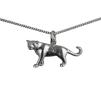 Silver 20x30mm solid Mountain Lion Pendant with a curb Chain 18 inches