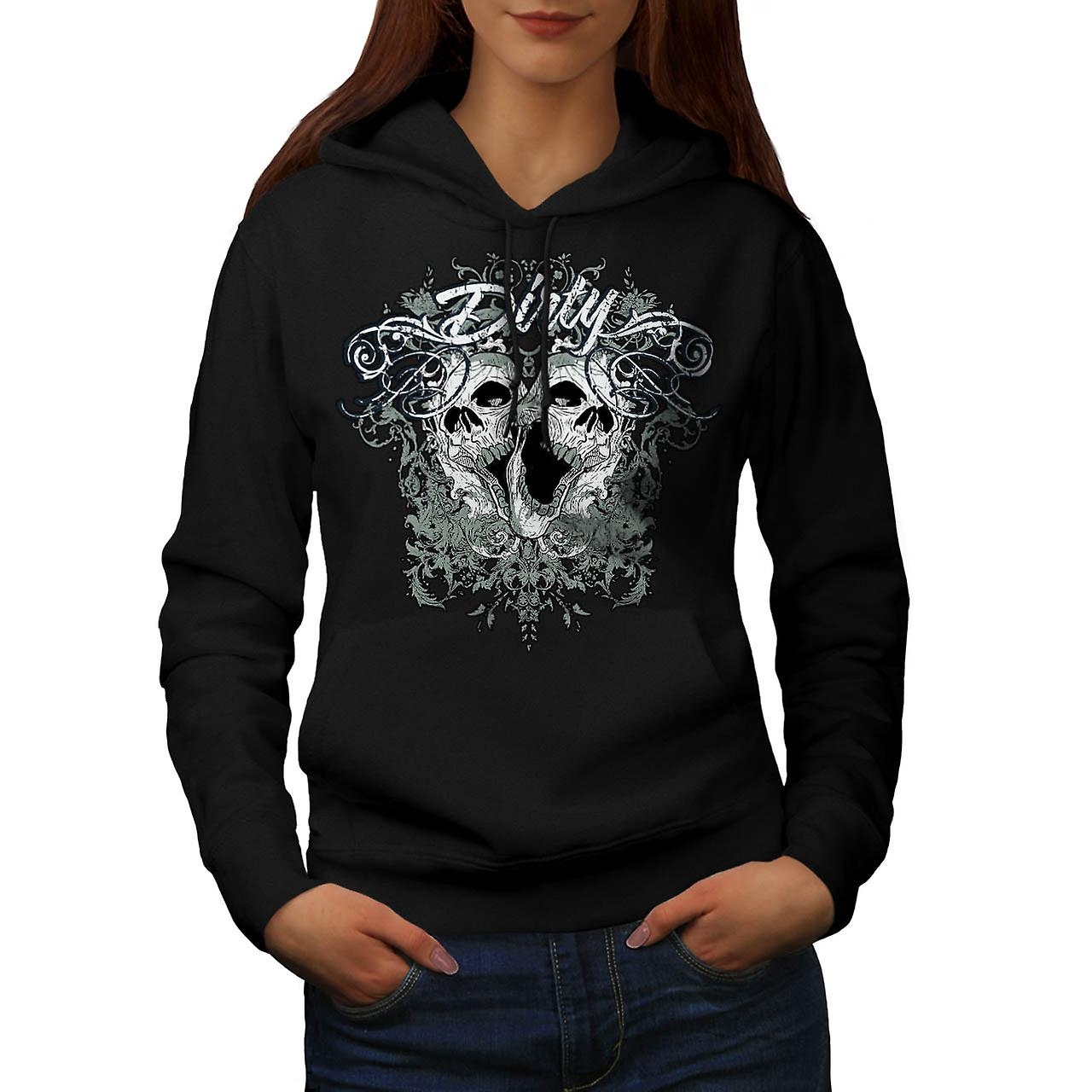 Dirty Evil Grave Yard Dead Skull Women Black Hoodie | Wellcoda