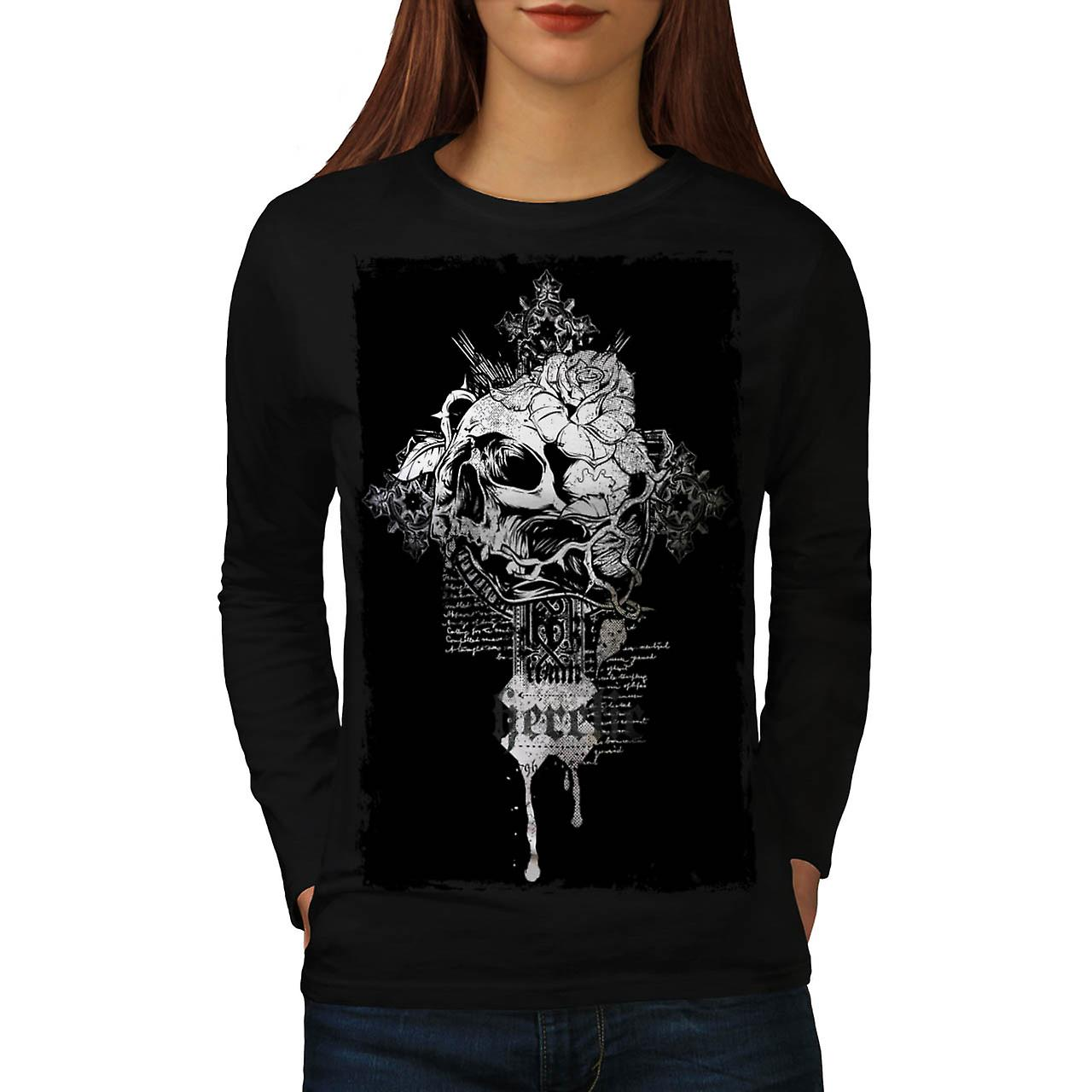 Rose Dead Flower Skull Women Black Long Sleeve T-shirt | Wellcoda