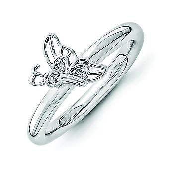 2.5mm Sterling Silver Rhodium-plated Stackable Expressions Rhodium Butterfly With Dia. Ring - Ring Size: 5 to 10