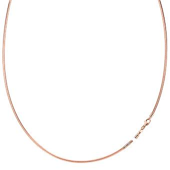 Round Omega Chain Necklace With Screw Off Lock In 14k Rose Gold, 1.5mm, 17