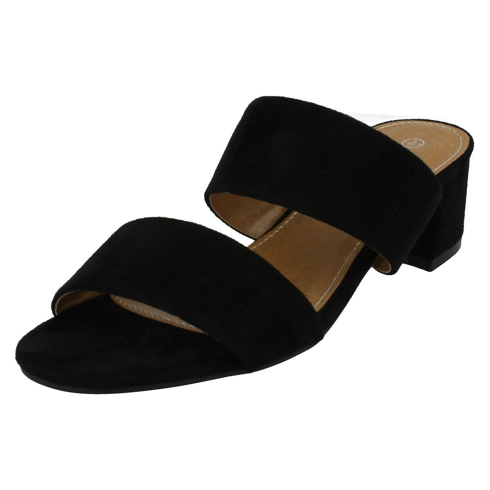 Ladies Anne Michelle Mid Heel Mule Strap Sandals F10627