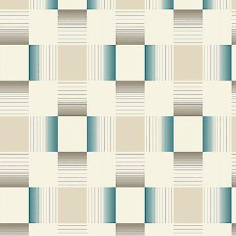 Tile Wallpaper Tiling Squares Embossed Textured Vinyl Washable Cream Teal
