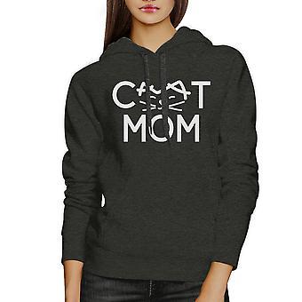Cat Mom Dark Grey Unisex Hoodie Fleece Cute Gift Ideas For Cat Lady