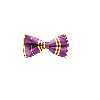 Adult Purple and Yellow Stripe Satin Bow Tie Fancy Dress Accessory