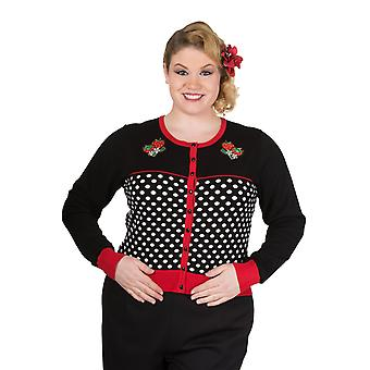 Banned - PARADISE CITY - Long sleeve Polka Dot Cardigan- PLUS SIZE