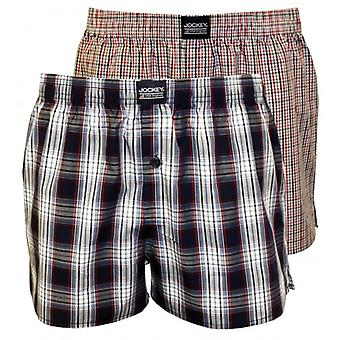 Jockey 2-Pack Plaid & Check Print Woven Boxer Shorts, Red/Blue/White