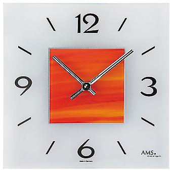 Quartz wall clock quartz wall clock wall clock quartz red orange structure glass