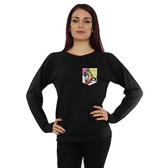 Looney Tunes Women's Lola Bunny Face Faux Pocket Sweatshirt