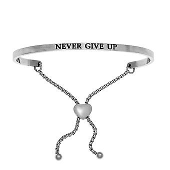 Intuitions Stainless Steel NEVER GIVE UP Diamond Accent Adjustable Bracelet