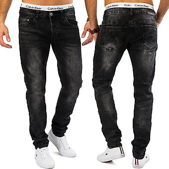 Mens tapered leg jeans Yuna stone washed denim trousers grey comfort fit stretch