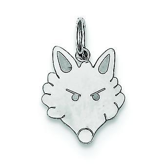 Sterling Silver Flat Solid Fox Head Charm - .5 Grams