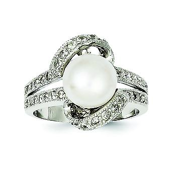 Sterling Silver Polished Simulated Pearl and Cubic Zirconia Ring - Ring Size: 6 to 8