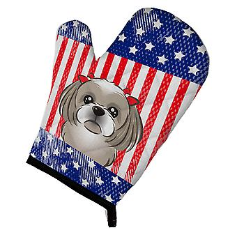 Carolines Treasures  BB2180OVMT American Flag and Gray Silver Shih Tzu Oven Mitt