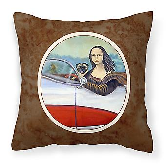 Carolines Treasures  7043PW1414 Fawn Pug and Mona Lisa Fabric Decorative Pillow