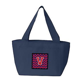 Lettera V Chevron Yale Blue e Crimson pranzo borsa