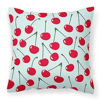 Carolines Treasures  BB5148PW1818 Cherries on Blue Fabric Decorative Pillow