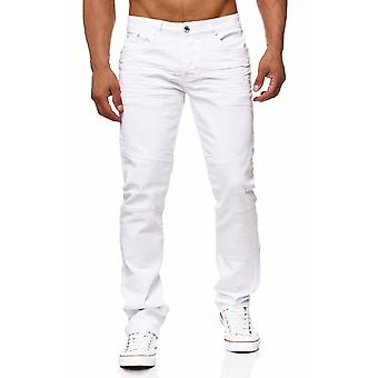 Men's jeans white pants back zip JON