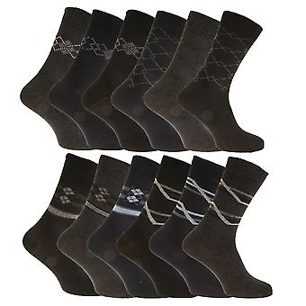 Mens Cotton Rich Assorted Patterned Suit Socks (12 Pairs)