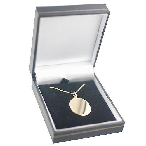 18ct Gold 27x21mm plain oval Disc with a light curb Chain 16 inches Only Suitable for Children