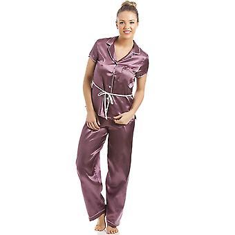 Camille Mocha Short Sleeve Belted Satin Pyjama Set