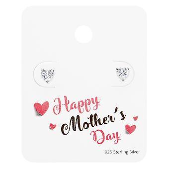 Hjertet øredobber på Happy Morsdag kort - 925 Sterling sølv sett - W35875x