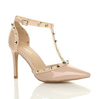 Ajvani dame høj hæl kontrast besat t-bar pegede retten sko sandaler