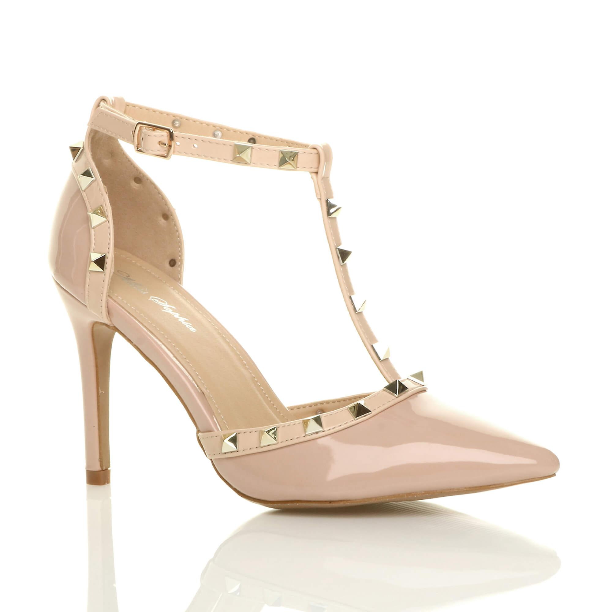 Ajvani womens high heel contrast studded t-bar pointed court shoes sandals