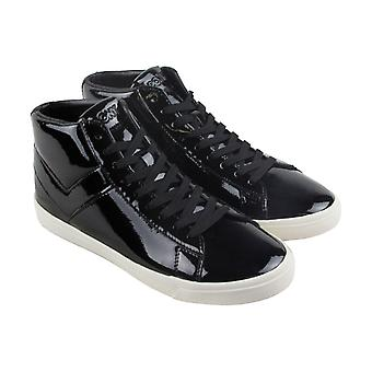 Pony Topstar Hi Mens Black Patent Leather High Top Sneakers Shoes