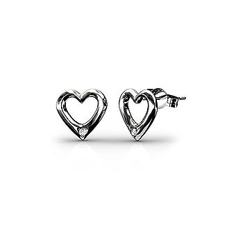 Rhodium-plated Women's Heart Earrings, adorned with White Swarovski Crystal