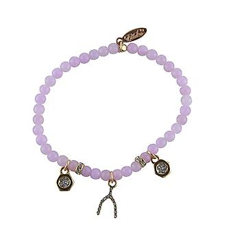 Ettika - Bracelet Stretch in Quartz pink, Crystal and Charm's plate gold beads