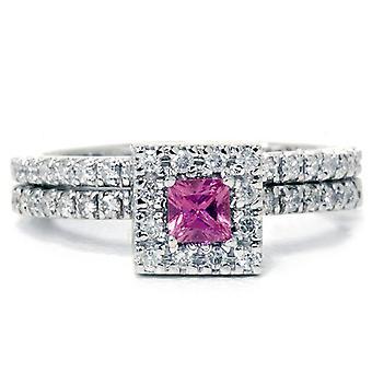5 / 8ct Princess Cut Pink Sapphire & diamant Engagement bague de mariage ensemble 14K or blanc