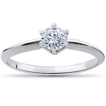 TC 3/8 redondo 10K anillo solitario de oro blanco