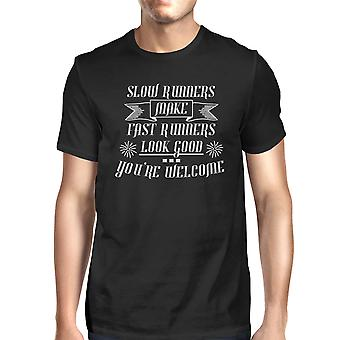 Slow Fast Runners Mens Black Lightweight Cool Cotton T-Shirt Gifts