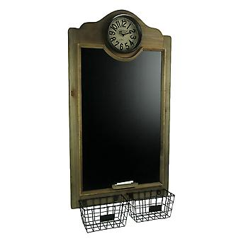Rustic Wood Framed Hanging Chalkboard with Clock and Baskets