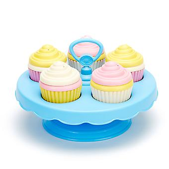 Green Toys Cupcakes Play Food Set with Display Stand BPA Free Eco Friendly Toy